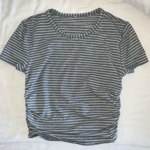lululemon athletica Tops - LULULEMON Gray & White Stripe Cropped Tee